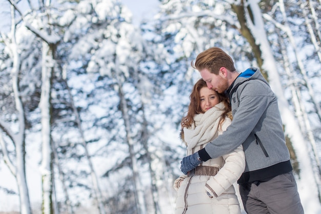 Young couple at winter