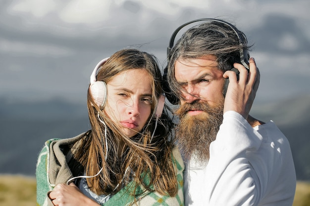 Young couple with headphones