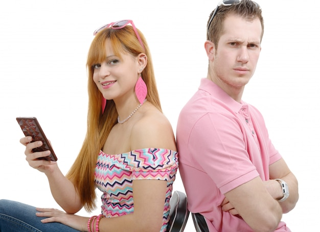 Young couple with problems. woman using phone