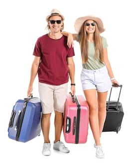 가방으로 젊은 부부