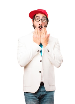 Young crazy businessman covering mouth