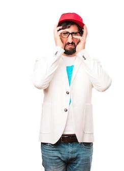 Young crazy businessman sad expression