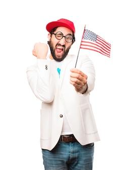 Молодой сумасшедший бизнесмен с флагом