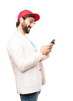 휴대 전화와 함께 젊은 미친 사업가