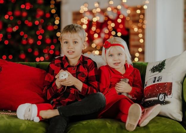 赤い四角いシャツと緑のソファに座っている赤いドレスのかわいい女の子の若いかわいい金髪の男の子