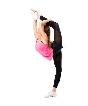 Young dance girl stretching