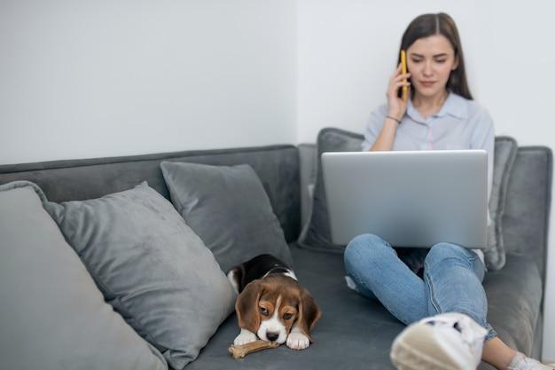Молодая темноволосая женщина работает на ноутбуке и играет со щенком