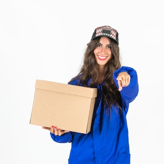 Young delivery woman at work