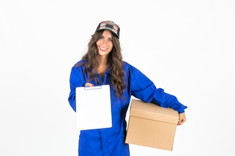 Young deliverywoman with box and clipboard