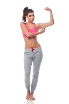 Young disappointed woman for fitness effect