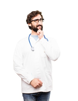 Young doctor man thinking