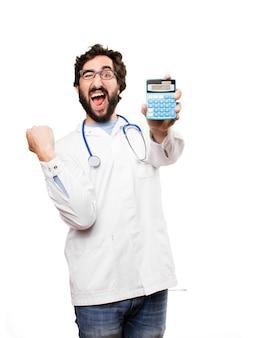 Молодой врач с калькулятором