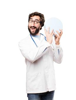 若い、ドクター、男、贈り物