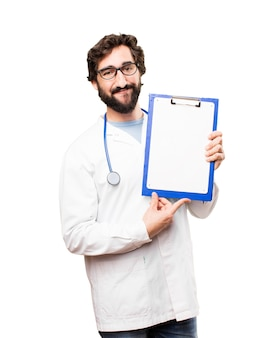 Young doctor man with a report