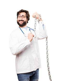 Young doctor man with a steel chain