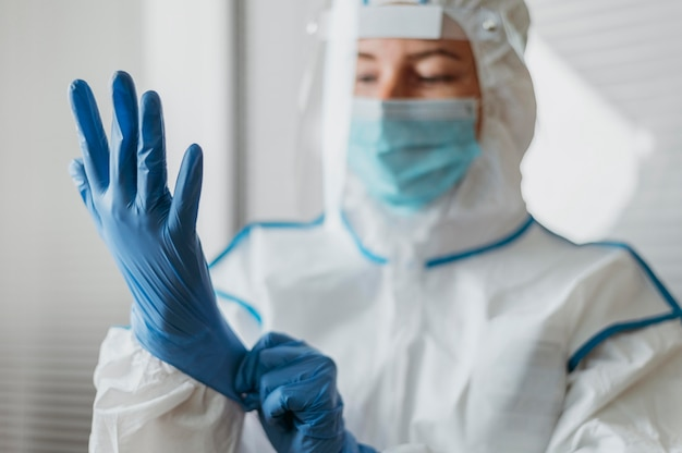 Young doctor wearing protective coronavirus equipment
