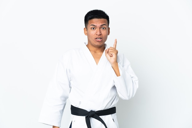 Young ecuadorian man doing karate isolated on white intending to realizes the solution while lifting a finger up
