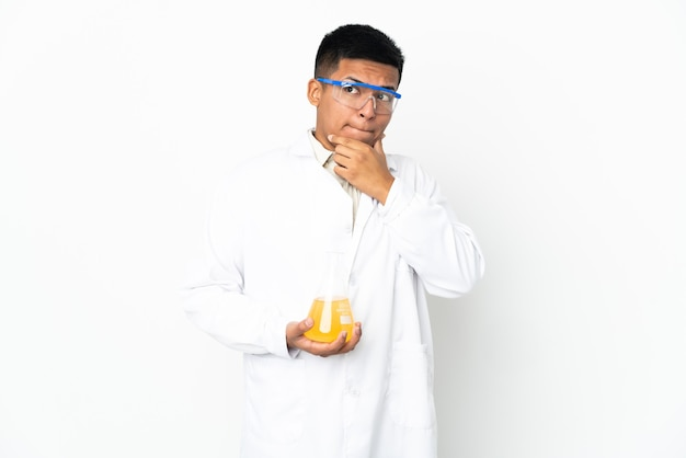 Young ecuadorian scientific man having doubts and thinking