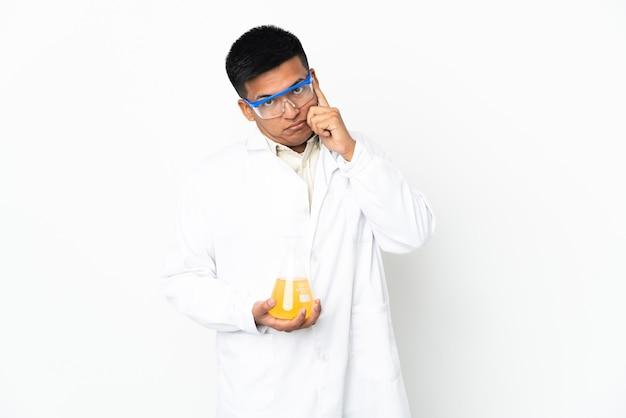 Young ecuadorian scientific man thinking an idea