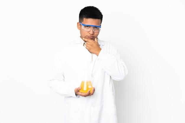 Young ecuadorian scientific man thinking