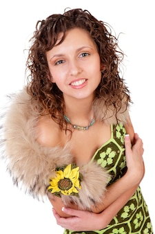 Young elegant girl with fur collar isolated on a white background