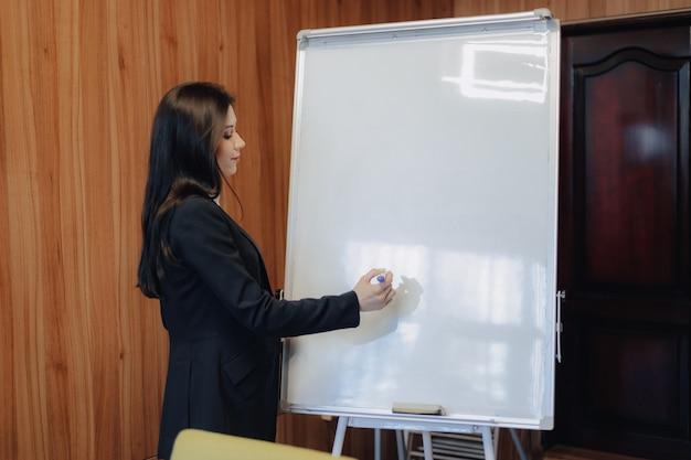 La giovane ragazza attraente emozionale in vestiti di stile di affari che lavora con la lavagna a fogli mobili in un ufficio o in un pubblico moderno
