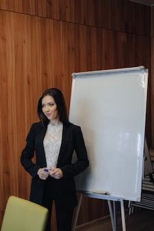 Young emotional attractive girl in business-style clothes working with flipchart