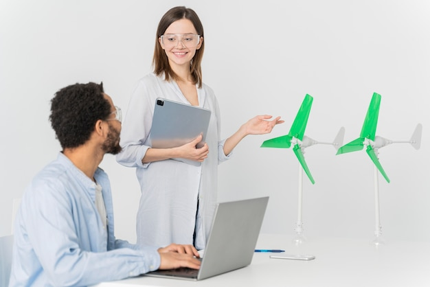 Young engineer working on energy innovations