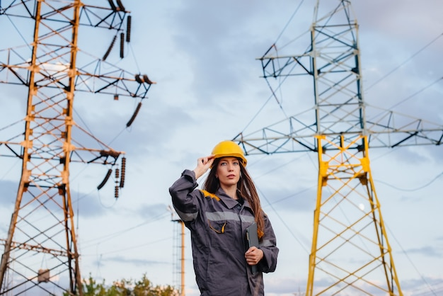 A young engineering worker inspects and controls the equipment of the power line