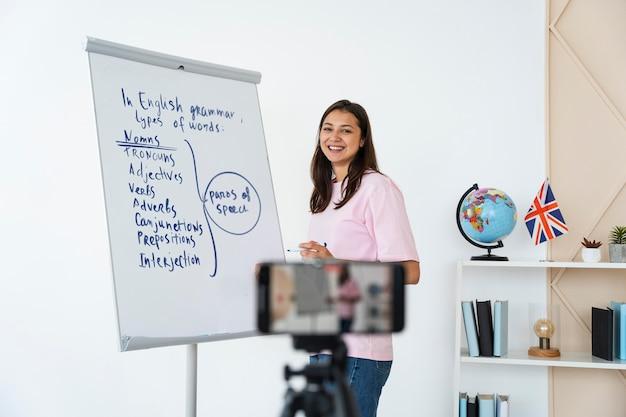 Молодая учительница английского языка делает уроки онлайн