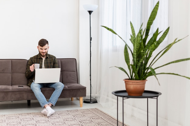 Young entrepreneur enjoying remote work