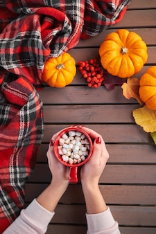 Young european woman with red manicure on nails holds in hands red cup of cocoa with marshmallows