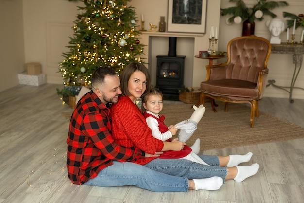 Молодая семья дома в канун нового года.