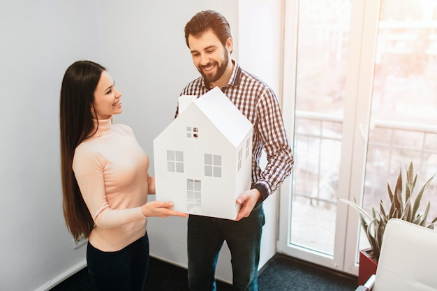 Young family couple purchase rent property real estate
