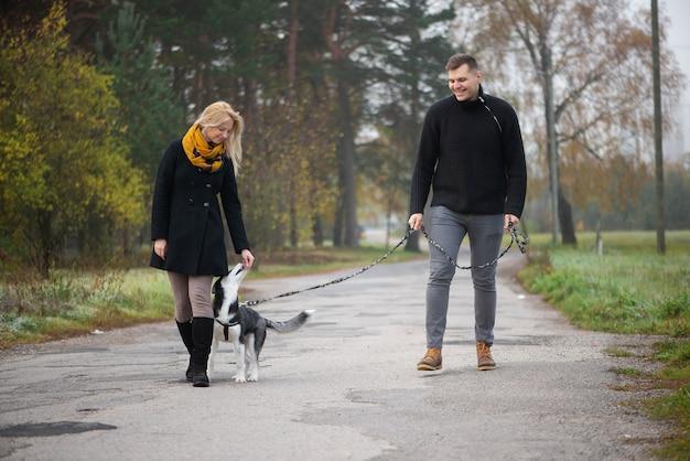 Молодая семейная пара с собакой сибирского хаски гуляет в осеннем парке