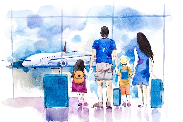 Young family traveling in international airport standing near window watercolor illustration