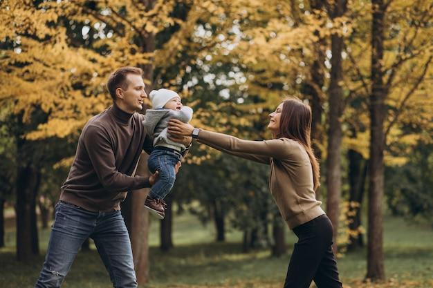Молодая семья с маленьким сыном в парке