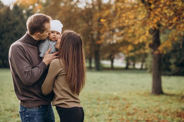 公園で赤ちゃんの息子と若い家族