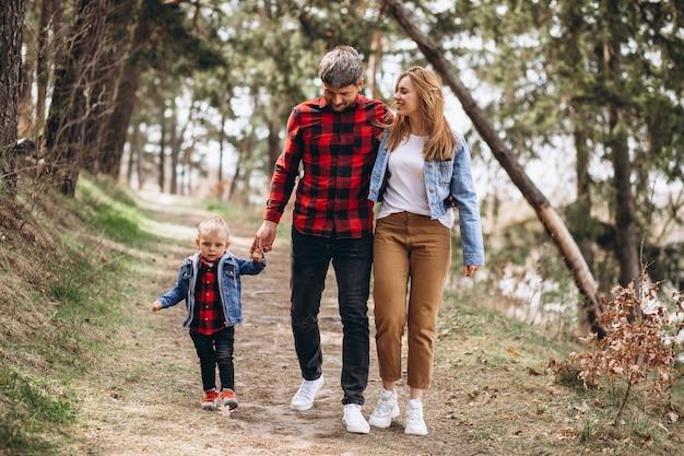 Giovane famiglia con figlio piccolo nella foresta