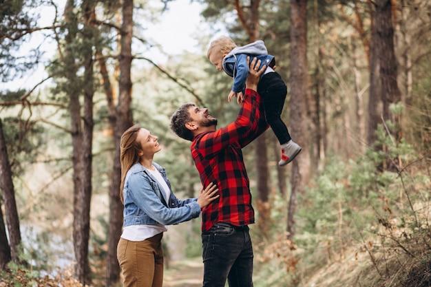 숲에서 작은 아들과 함께 젊은 가족 무료 사진