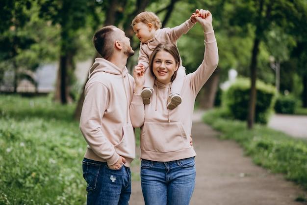 公園で彼らの小さな赤ちゃんの子供を持つ若い家族 無料写真