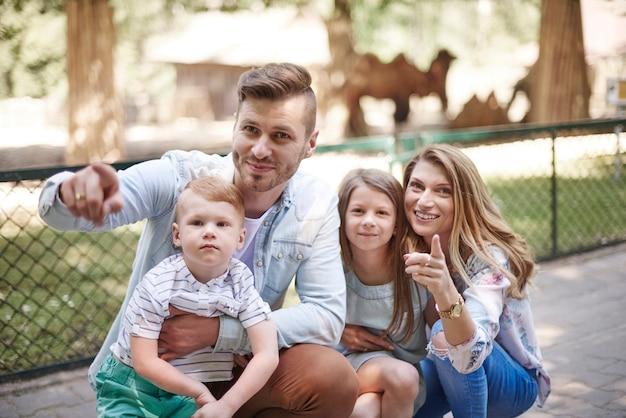 Giovane famiglia allo zoo