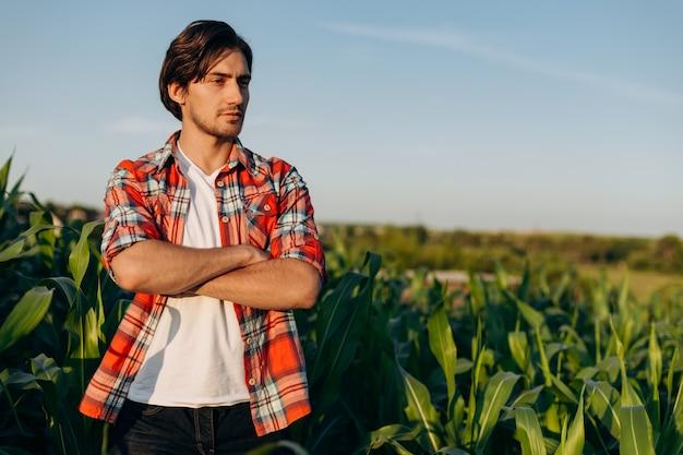 収穫を研究しているトウモロコシ畑に立っている若い農夫。屋外で市松模様のシャツを着たハンサムな男。