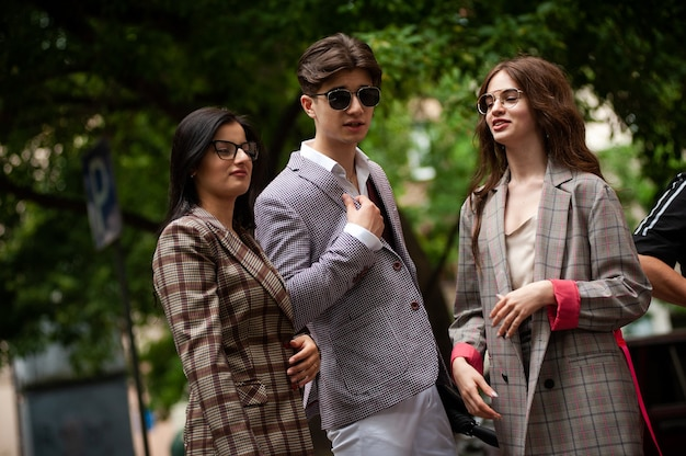 Young fashion students friends in the city