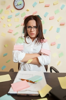 Young female bookkeeper nerves on a limit