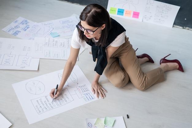 Молодая женщина-брокер в элегантной повседневной одежде сидит на полу и рисует схемы рабочих точек в офисе