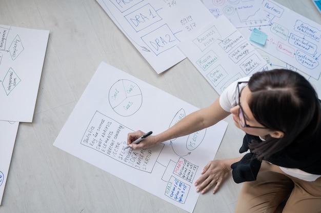 바닥에 앉아 작업 다이어그램 및 흐름도를 그리는 종이 위에 형광펜이있는 젊은 여성 브로커