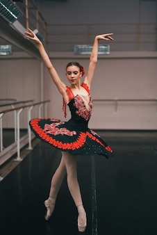 Young female dancer of classic ballet practising in the dance studio