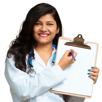 Young female doctor medical professional in hospital isolated