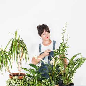 Young female florist spraying water on plant with spray bottle